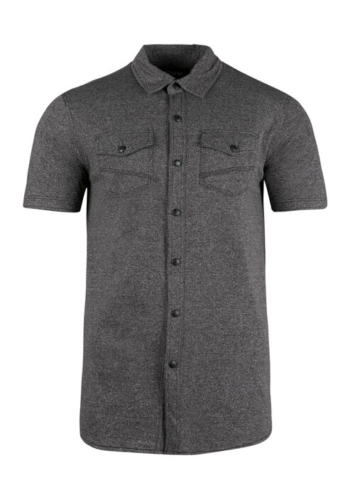 Men's Knit Shirt, CHARCOAL, hi-res