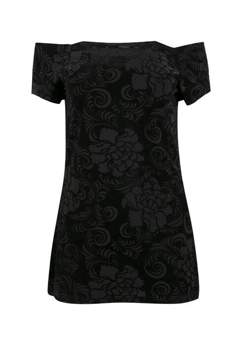 Ladies' Velour Off The Shoulder Top, BLACK, hi-res