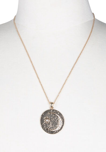 Ladies' Short Celestial Disc Necklace, GOLD, hi-res