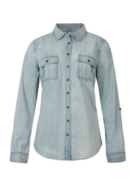 Ladies' Relaxed Fit Denim Shirt, LIGHT VINTAGE WASH, hi-res