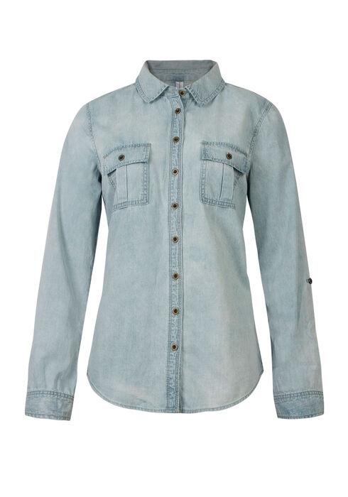Ladies' Relaxed Fit Denim Shirt, LIGHT VINTAGE WASH, hi-res