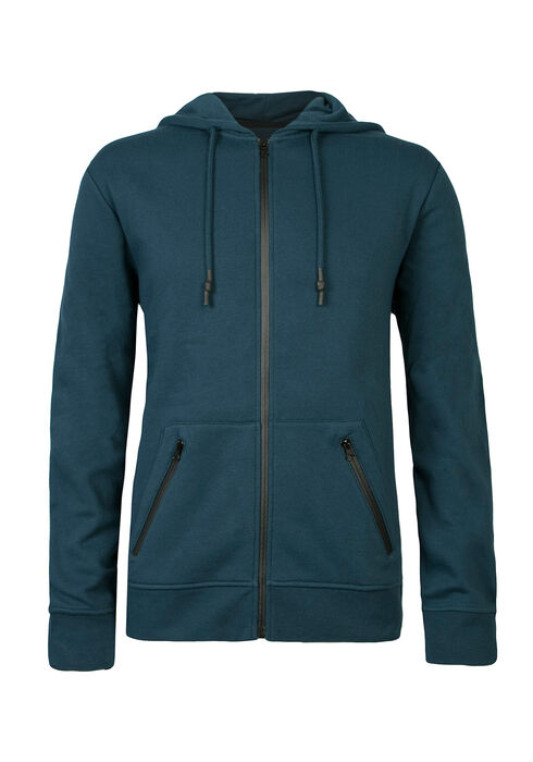 Men's Zip Front Fleece Hoodie, TEAL, hi-res