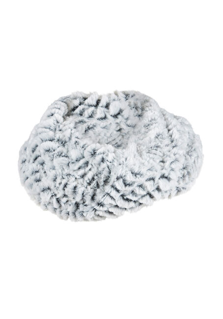 Ladies' Faux Fur Infinity Scarf, LIGHT GREY, hi-res
