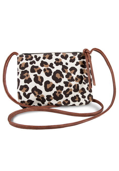 Ladies' Leopard Crossbody Bag, HEATHER BROWN, hi-res