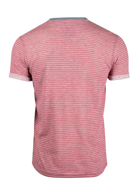 Men's Mini Stripe Henley Tee, PLUM, hi-res
