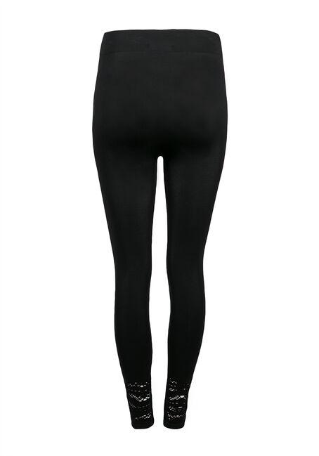 Ladies' Lace Trim Legging, BLACK, hi-res