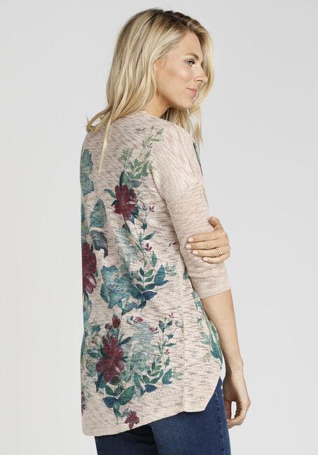 Ladies' Floral Print Cardigan, TAN, hi-res