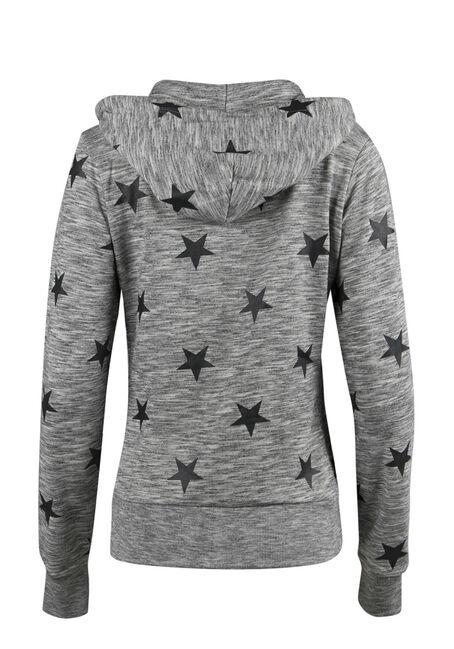 Ladies' Star Print Zip Up Hoodie, M.CHAR/BLK, hi-res