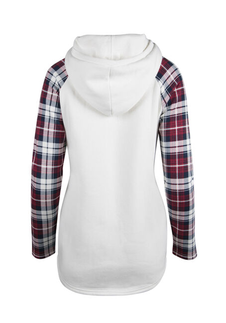 Ladies' Plaid Baseball Hoodie, IVORY, hi-res