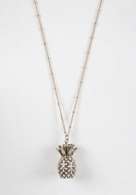 Ladies' Pineapple Necklace, GOLD, hi-res