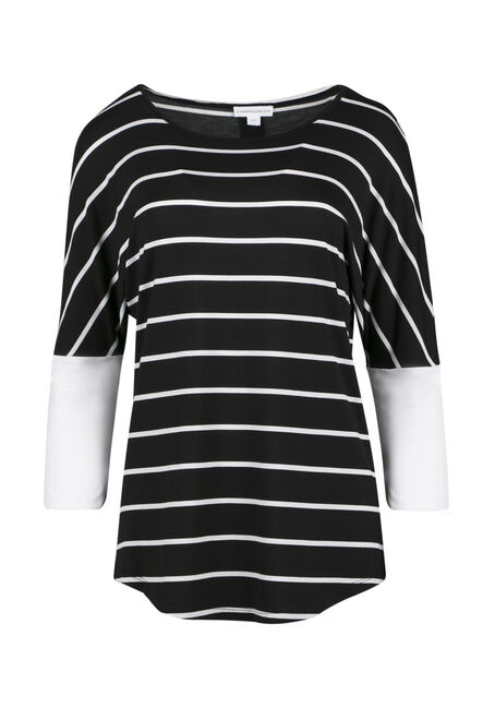 Ladies' Stripe Button Back Top, BLACK, hi-res