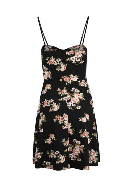 Ladies' Floral Strappy Fit & Flare Dress, BLACK, hi-res