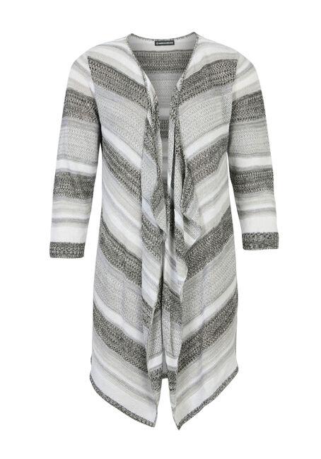 Ladies' Stripe Pointelle Cardigan, BLK/WHT, hi-res