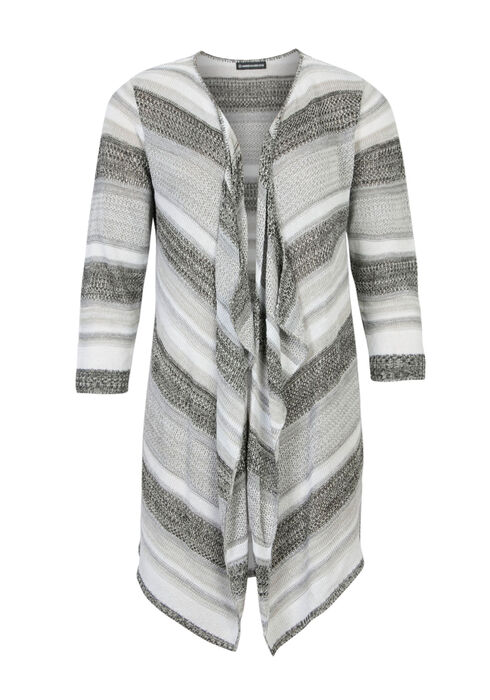 Ladies' Stripe Pointelle Cardigan, BLK/WHT, hi-res