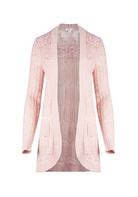 Ladies' Lace Insert Pointelle Cardigan