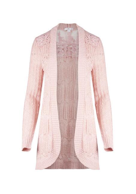 Ladies' Lace Insert Pointelle Cardigan