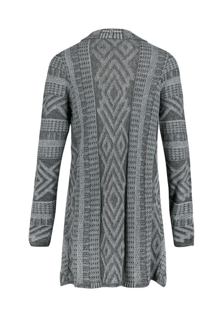 Ladies' Aztec Pattern Open Cardigan, CHARCOAL/GREY, hi-res