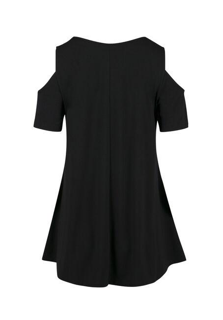 Ladies' Cold Shoulder Tee, BLACK, hi-res