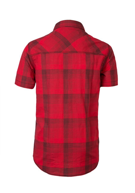 Men's Tonal Plaid Shirt, RED, hi-res