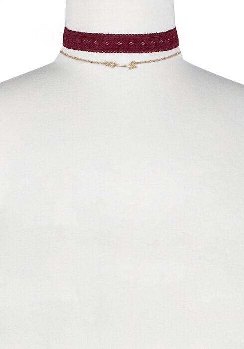 Ladies' Trio Layered Necklace, BLACK, hi-res