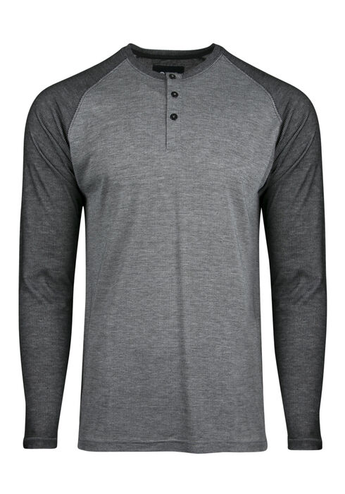 Men's Henley Raglan Tee, HEATHER GREY, hi-res