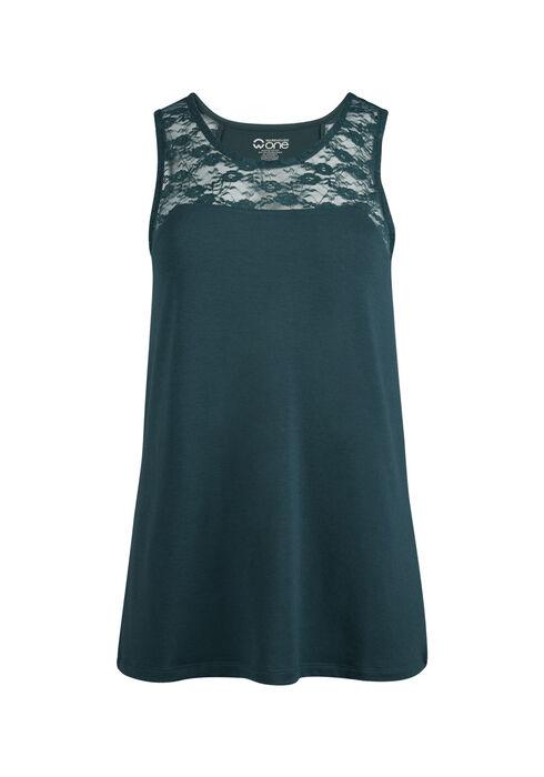 Ladies' Lace Yoke Tank, BLUE IVY, hi-res