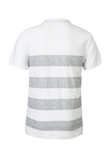 Men's Split V-neck Tee, WHITE, hi-res
