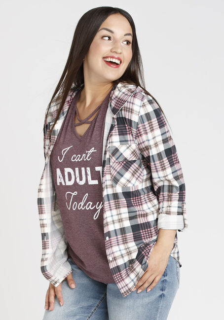 Ladies' Hooded Knit Plaid Shirt, LT PURPLE, hi-res