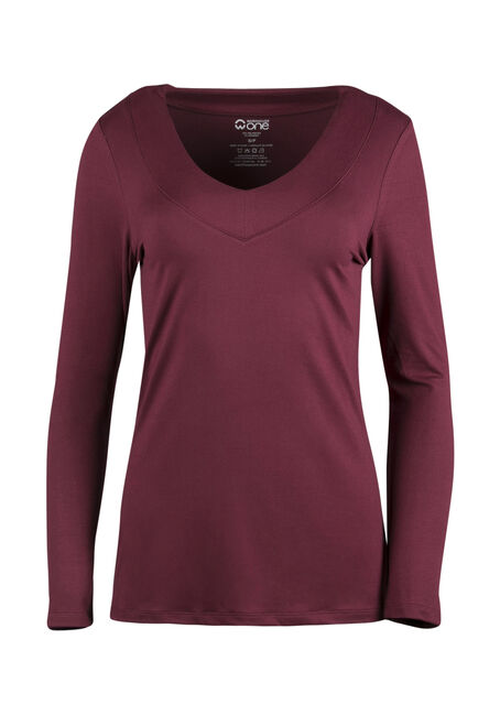 Ladies' V-Neck Tee, WINE, hi-res