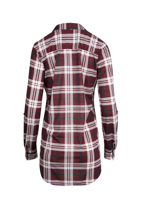 Ladies' Knit Plaid Tunic Shirt, WINE, hi-res
