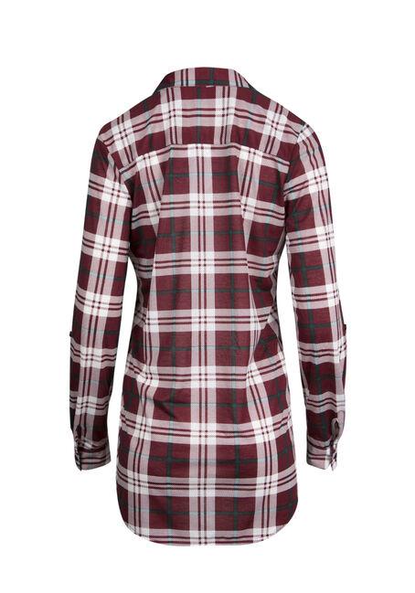 Ladies' Knit Plaid Tunic Shirt, WINE, hi-res