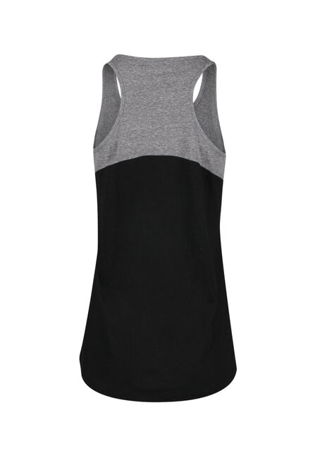 Ladies' Colour Block Tank, BLACK/ GREY, hi-res