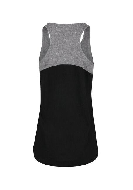 Ladies' Colour Block Tank, BLACK/ GREY, hi-res