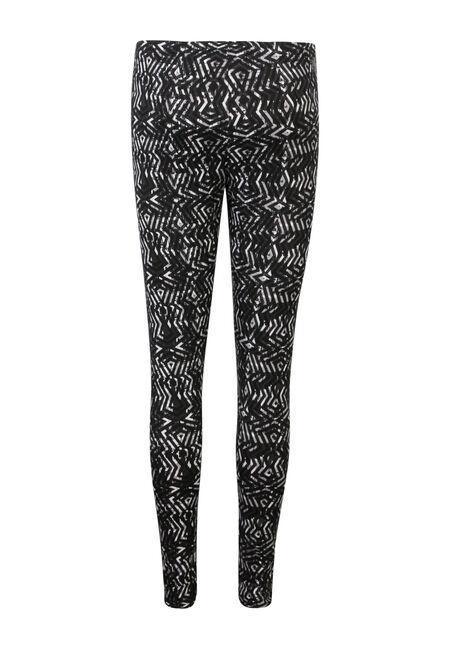 Ladies' Geo Print Legging, BLK/WHT, hi-res