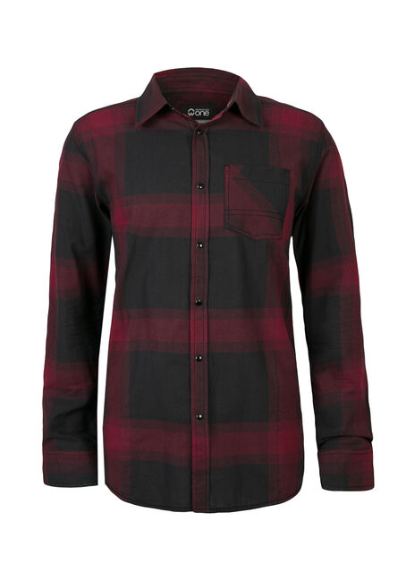 Men's Relaxed Plaid Shirt, CHARCOAL, hi-res