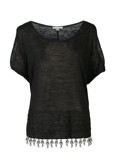 Ladies' Crochet Hem Cold Shoulder Top, BLACK, hi-res