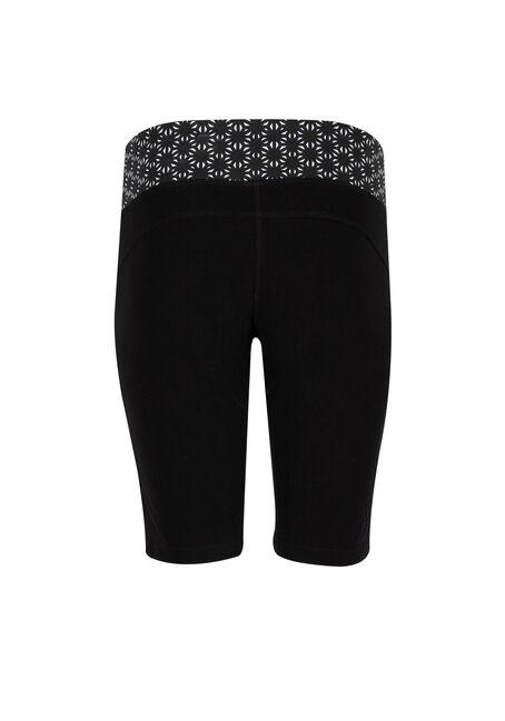 Ladies' Pattern Waistband Bermuda Short, BLACK, hi-res