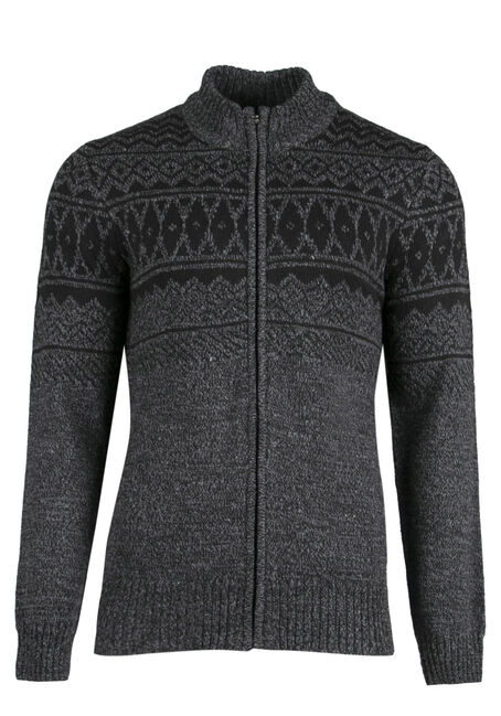Men's Nordic Cardigan, CHARCOAL, hi-res