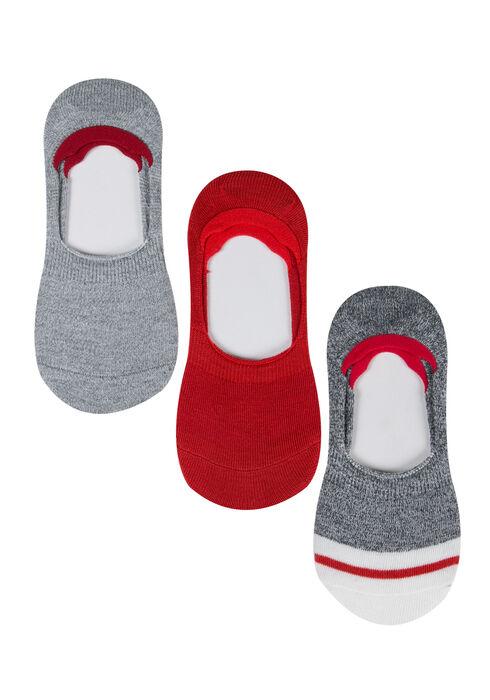 Ladies' 3 Pair Shoe Liners, RED, hi-res