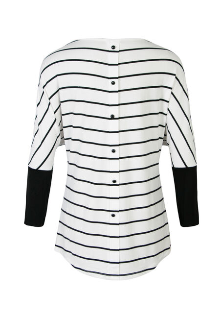 Ladies' Striped Dolman, IVORY, hi-res
