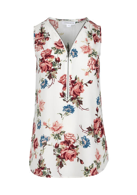 Ladies' Floral Half Zip Tank