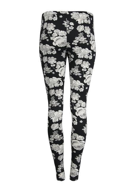 Ladies' Floral Legging, BLK/WHT, hi-res
