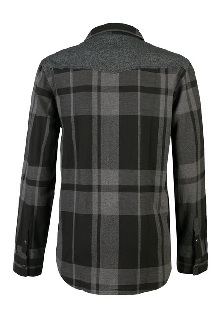 Men's Plaid and Jersey Shirt, CHARCOAL, hi-res