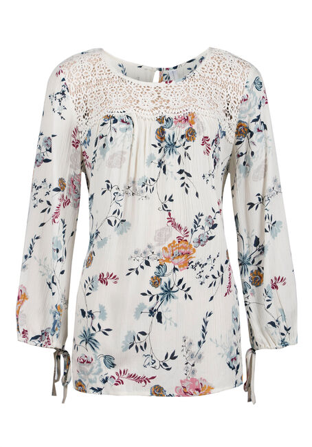 Ladies' Floral Crinkle Top, IVORY, hi-res
