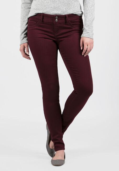 Ladies' Skinny Pants, BURGUNDY, hi-res