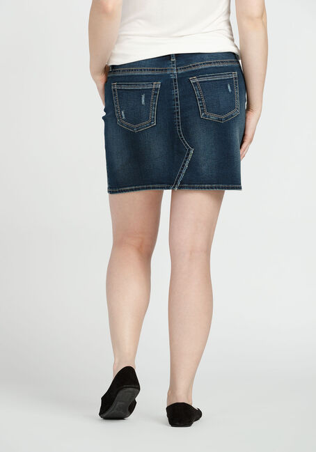 Ladies' Dark Wash Denim Skirt, DARK VINTAGE WASH, hi-res