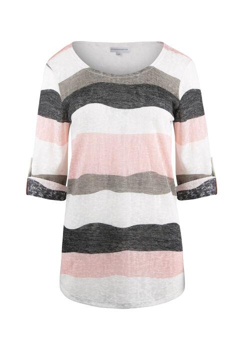 Ladies' Stripe Tunic Tee, ROSEWATER/IVORY, hi-res