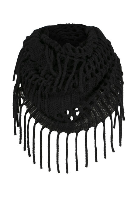 Ladies' Fringed Infinity Scarf, BLACK, hi-res