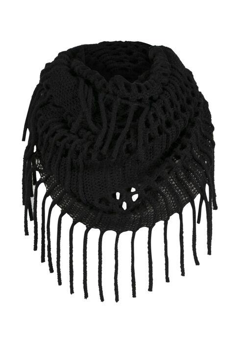 Ladies' Fringed Infinity Scarf, BLACK, hi-res