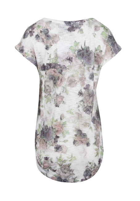 Ladies' Pastel Floral Tee, WHITE, hi-res